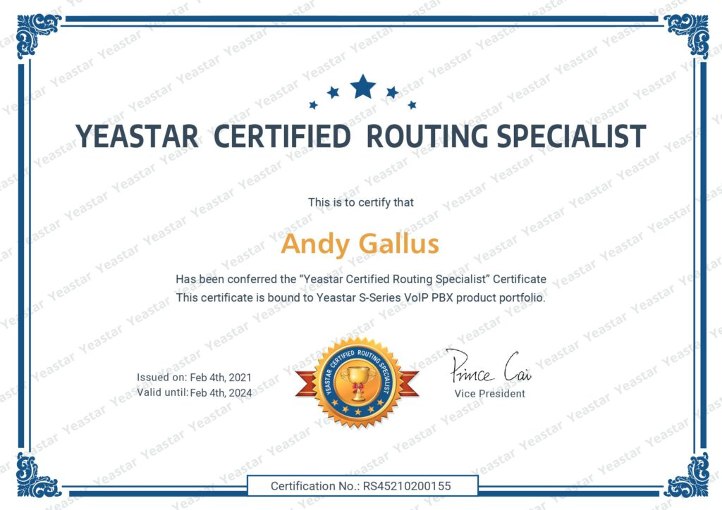 Yeastar Certified Routing Specialist