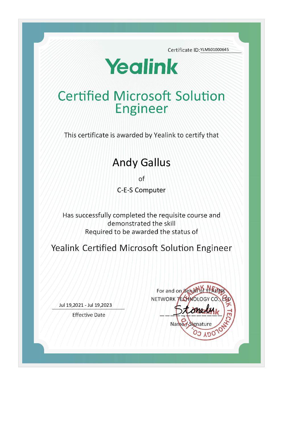 Yealink Certified Microsoft Solution Engineer