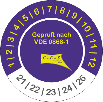 Prüfetikett VDE 0868-1